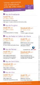 Calendrier des jobdatin ADMR en Ille-et-Vilaine du 16 au 20 avril