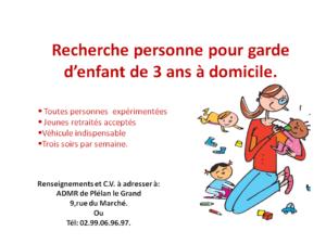 Recherche personne pour garde d'enfants de 3 ans